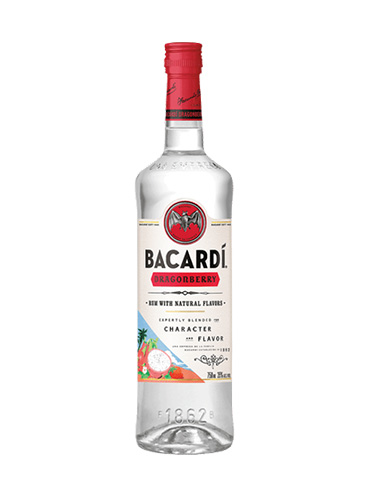 Bacardi dragonberry rum with natural flavors 1ltr
