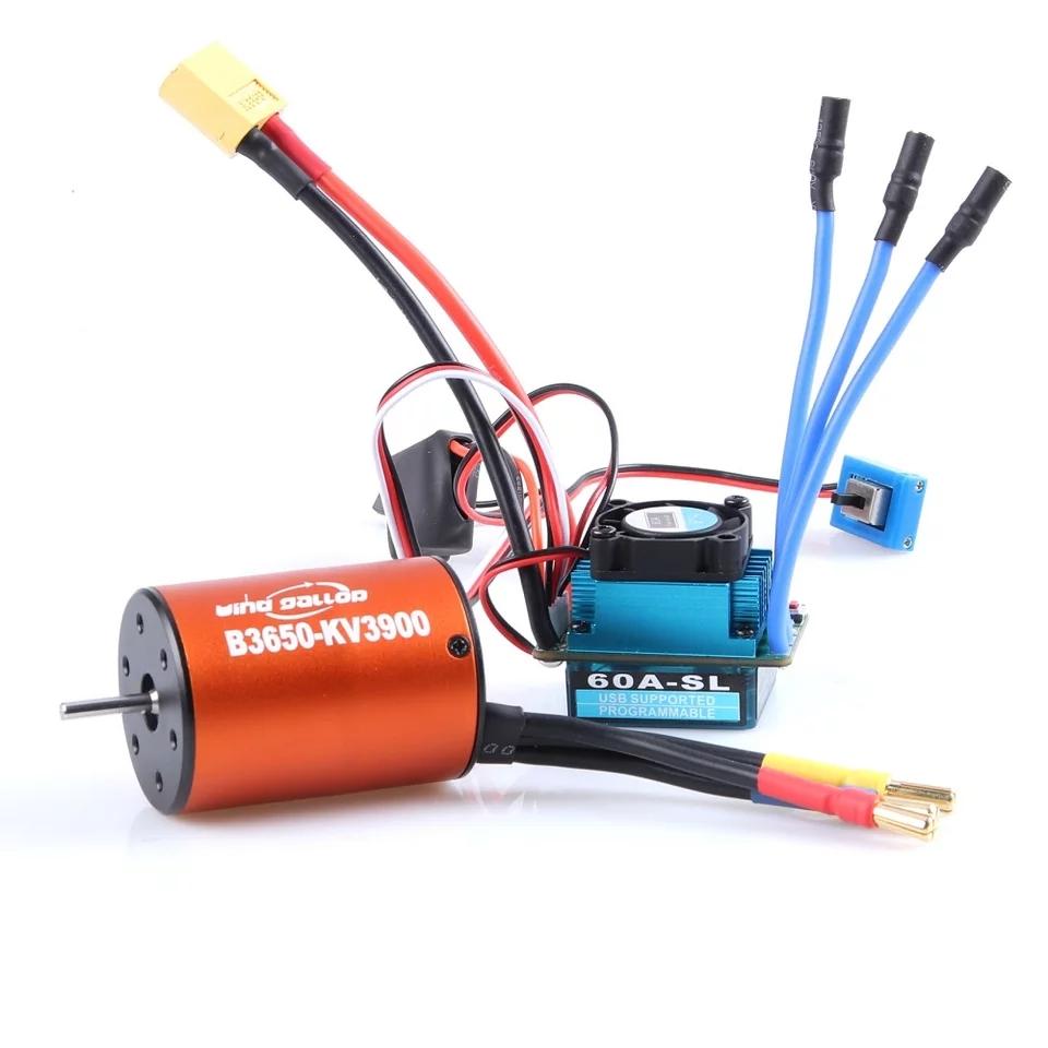 Universal Racing 60A ESC No Sense Brushless Motor Electric Speed Controller  and B3650 3900KV 4300KV Motor For 1:10 RC Car