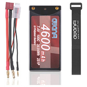 AWANFI 2S Shorty Lipo 7.4V 4600mAh 100C Hardcase Lipo Battery with 4mm Bullet Deans Plug.