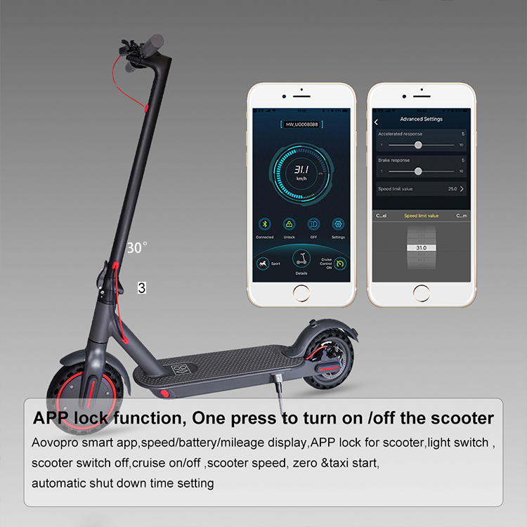 Aovo M365pro Waterproof Foldable 10.5AH 350 Watt Adult Electric Scooter for Adult