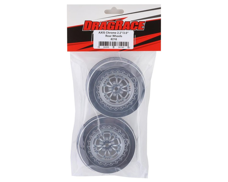 DragRace Concepts AXIS 2.2/3.0″ Drag Racing Rear Wheels w/12mm Hex (Chrome) (2)